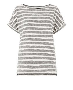 White Stripe Drop Arm T-Shirt  | New Look