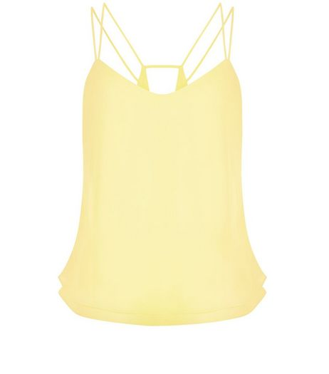 Petite Yellow Layered Double Strap Cami  | New Look