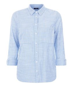 Petite Blue Stripe Double Pocket Roll Sleeve Shirt  | New Look