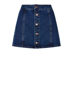 Petite Blue Denim Button Front Skirt | New Look