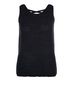 Petite Black Cross Back Knitted Vest | New Look