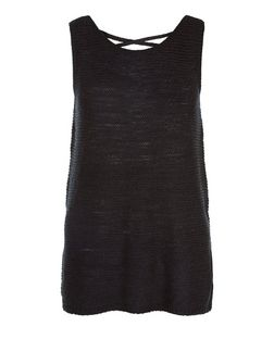 Tall Black Cross Back Knitted Vest | New Look