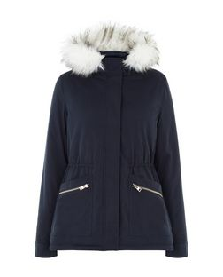 Navy Faux Fur Trim Hooded A-Line Parka  | New Look