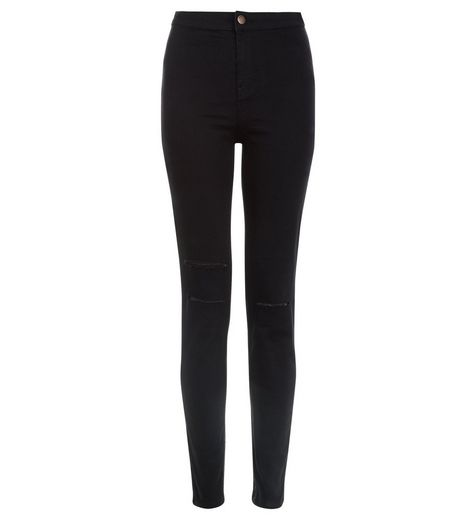 Black Double Ripped High Waist Super Skinny Hallie Jeans  | New Look