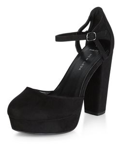 Wide Fit Black Suedette Caged Ankle Strap Block Heels  | New Look