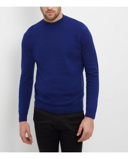 Navy Cotton Funnel Neck Jumper  | New Look