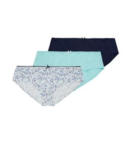 Teens 3 Pack Mint Green Navy and White Briefs | New Look