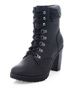 Black Faux Shearling Cuff Lace Up Block Heel Ankle Boots  | New Look