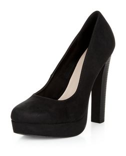 Black Suedette Block Heels | New Look