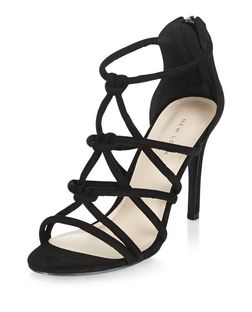 Black Knot Strap Heeled Sandals  | New Look