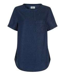 Navy Denim Single Pocket Dip Hem T-Shirt  | New Look