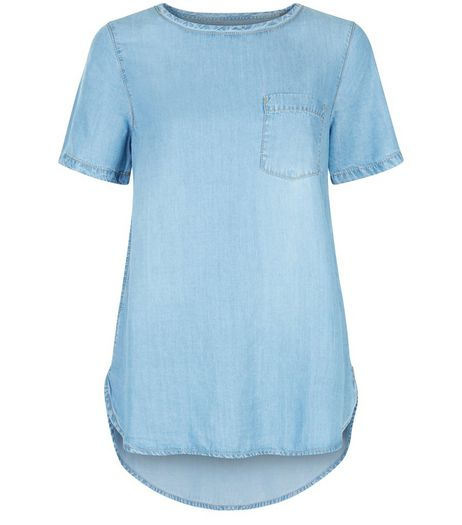 Pale Blue Denim Single Pocket Dip Hem T-Shirt  | New Look