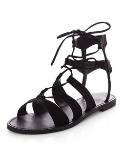 Black Suedette Ghillie Sandals  | New Look