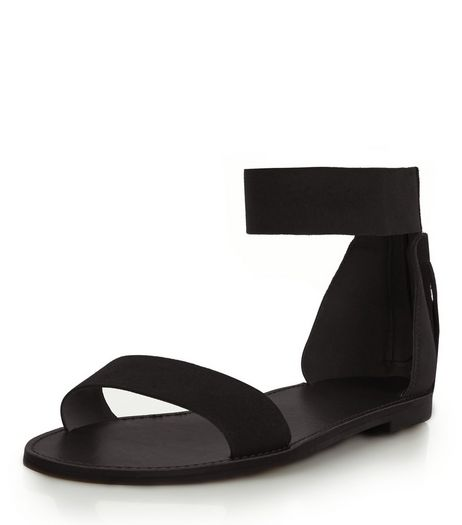 Black Suede Tassel Back Ankle Strap Sandals  | New Look