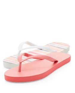 2 Pack Coral and Pale Blue Stripe Flip Flops  | New Look