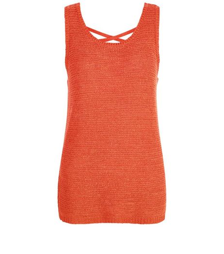 Orange Knitted Cross Back Vest  | New Look