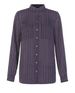 Blue Stripe Double Pocket Long Sleeve Shirt  | New Look