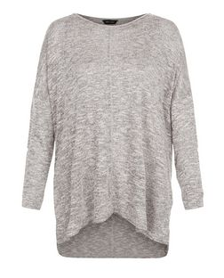 Grey Fine Knit Seam Front Tunic Top  | New Look