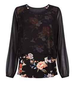 Apricot Black Floral Double Layer Top | New Look