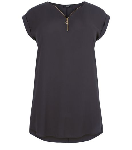 Curves Black Zip Front Longline Tunic Top  | New Look