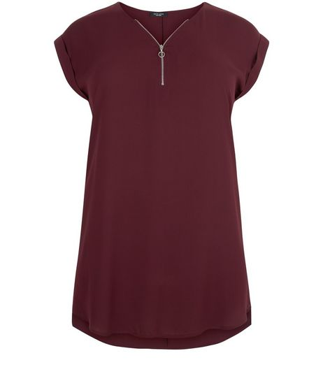 Curves Burgundy Zip Front Longline Tunic Top  | New Look