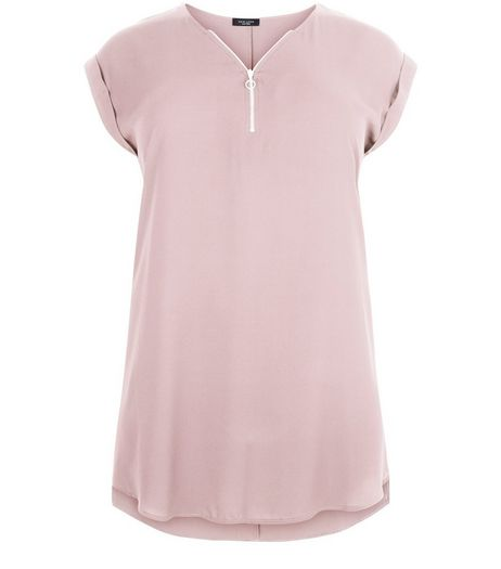 Curves Mid Pink Zip Front Longline Tunic Top  | New Look