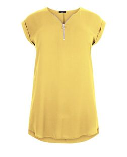 Plus Size Yellow Zip Front Longline Tunic Top | New Look