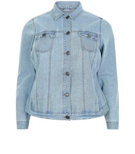 Curves Blue Double Pocket Denim Jacket | New Look