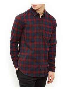Navy and Red Check Single Pocket Long Sleeve Shirt  | New Look