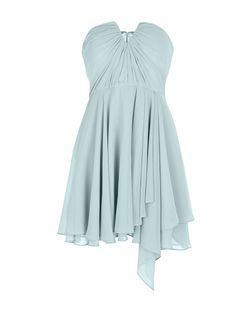 Mint Green Bandeau Notch Neck Ruched Prom Dress  | New Look