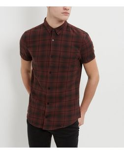 Rust Check Single Pocket Short Sleeve Shirt  | New Look