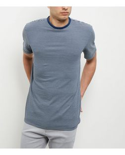 Navy Stripe Crew Neck T-Shirt  | New Look