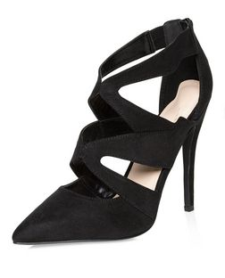Black Suedette Cut Out Pointed Heels  | New Look