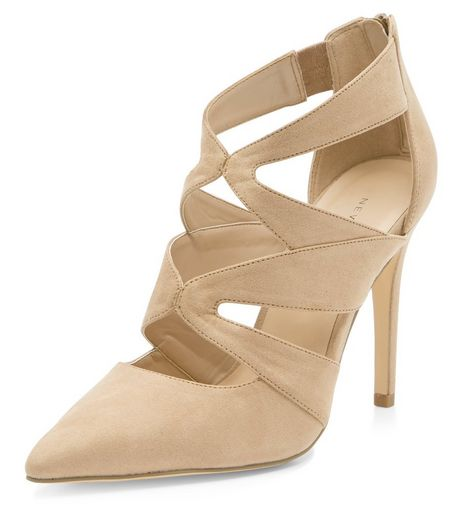 Camel Suedette Cut Out Pointed Heels  | New Look