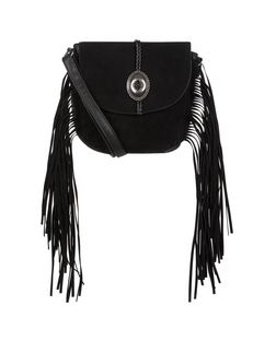 Black Western Buckle Fringe Saddle Bag  | New Look