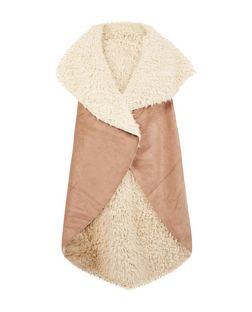 Blue Vanilla Camel Faux Fur Waterfall Gilet | New Look