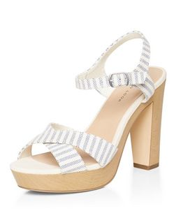 Blue Stripe Cross Strap Platform Block Heel Sandals  | New Look