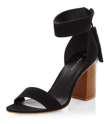 Black Suedette Tassel Drop Block Heel Sandals  | New Look