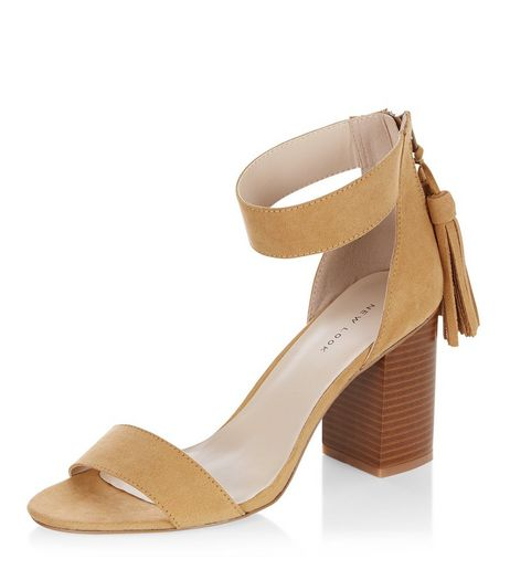 Stone Suedette Tassel Drop Block Heel Sandals | New Look
