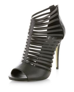 Black Strappy Platform Heels  | New Look