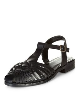 Black Leather Woven T-Bar Sandals  | New Look