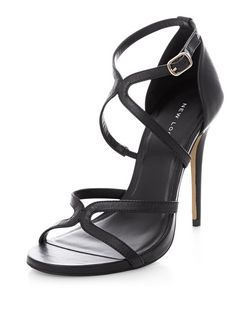 Black Leather Strappy Heeled Sandals  | New Look