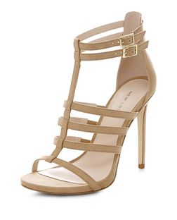 Stone Suedette Gladiator Heeled Sandals  | New Look