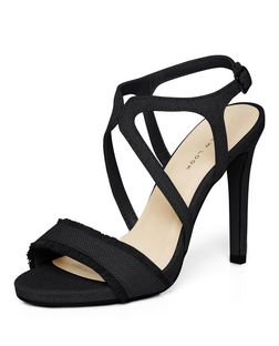 Black Canvas Fringed Cross Strap Heels  | New Look