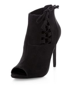 Black Suedette Lace Up Side Peep Toe Heeled Boots  | New Look