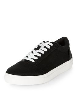Black Textured Trim Lace Up Trainers  | New Look