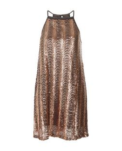 Madam Rage Bronze Sequin Swing Dress | New Look