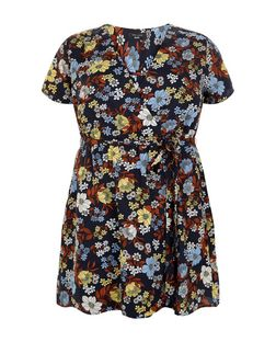 Plus Size Blue Floral Print Wrap Dress | New Look