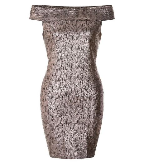 Madam Rage Bronze Metallic Bardot Dress | New Look