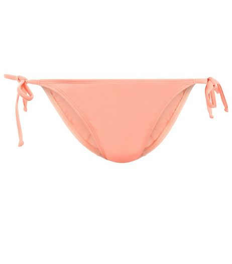 Coral Tie Side Bikini Bottoms | New Look